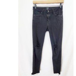 JUST BLACK Ripped Knee Black Jeans High Waist GUC
